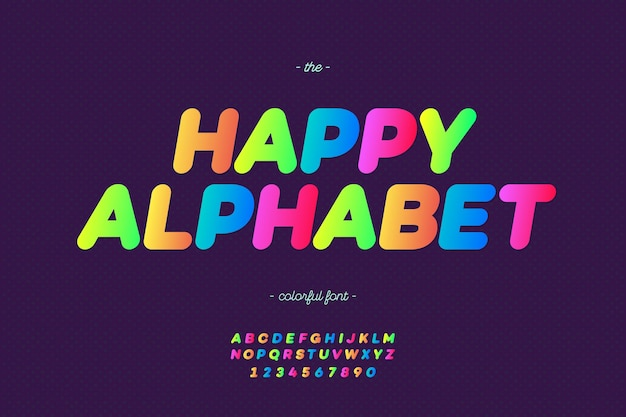 Bold happy alphabet modern typography color style for promotion