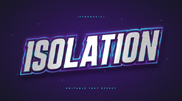 Bold isolation text in white and blue with 3d embossed effect. editable text style effect