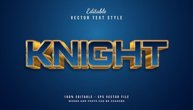 Bold knight text style in blue and gold embossed effect