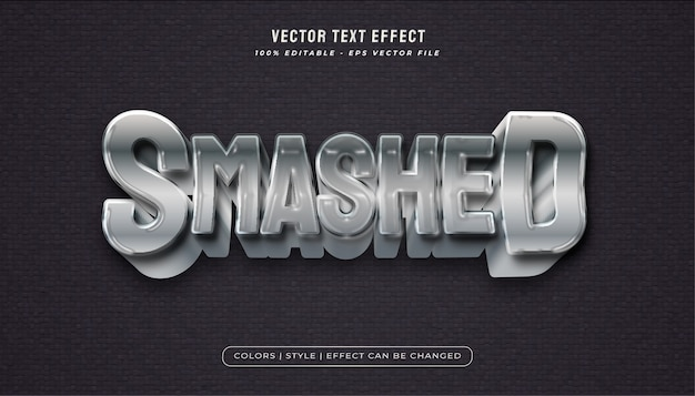 Bold metallic text style with plastic texture effect