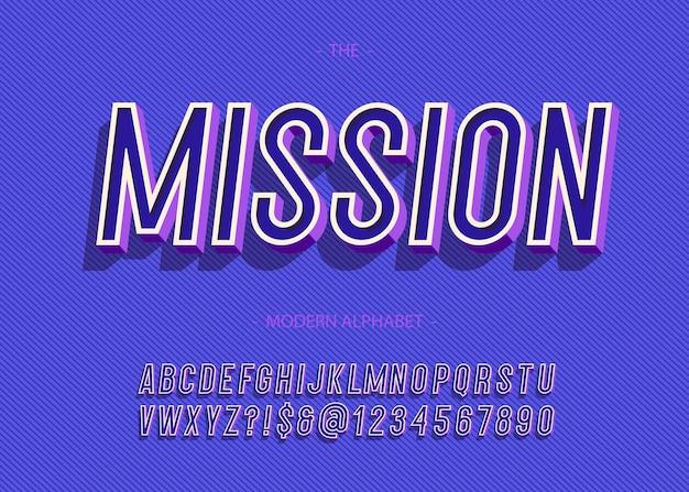 대담한 임무 알파벳 유행 타이포그래피 개념에 대한 산세 리프 3d 스타일