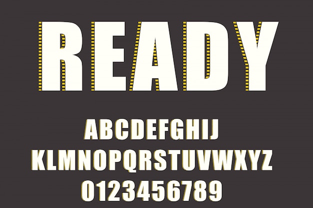 Bold modern font and alphabet, typeface, letters and numbers, typography.