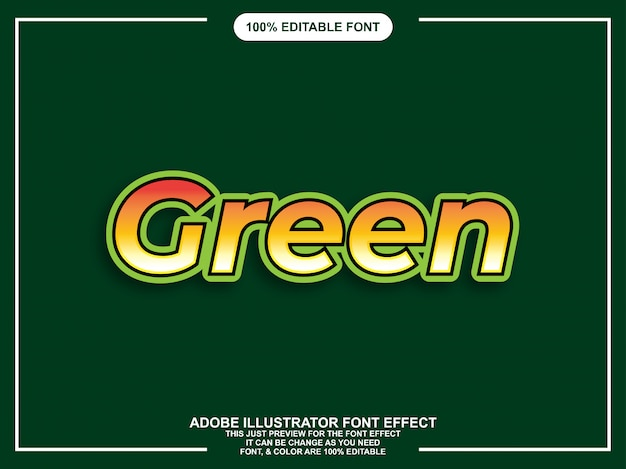 Bold modern green graphic style editable font