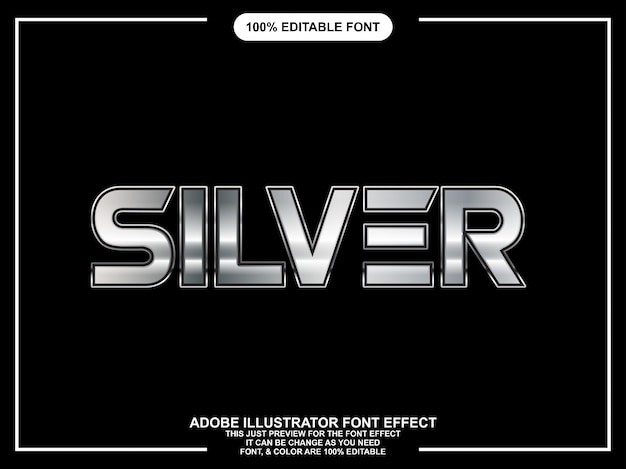 Bold modern silver graphic style editable font