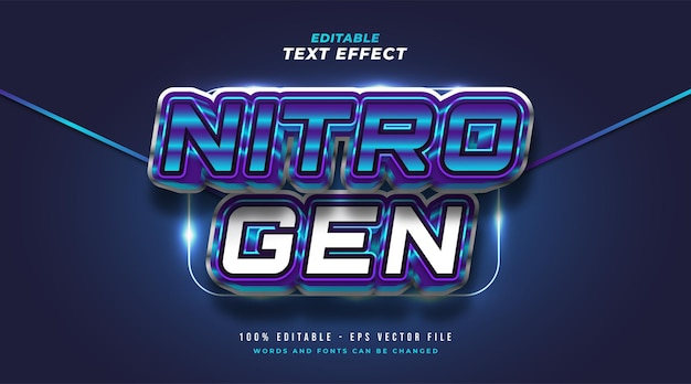 Bold nitrogen text in blue and white with 3d embossed effect. editable text style effect