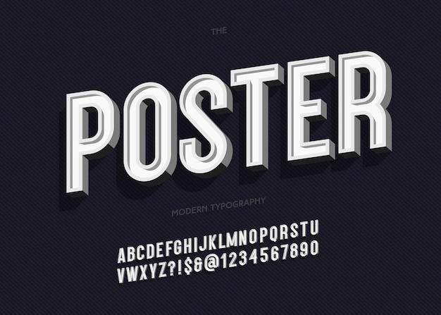Bold poster alphabet trendy typography sans serif 3d style for book