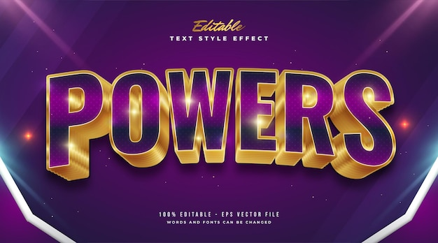 Bold purple and gold text style with curved effect
