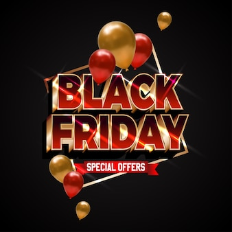 Bold red glossy text for black friday super sale