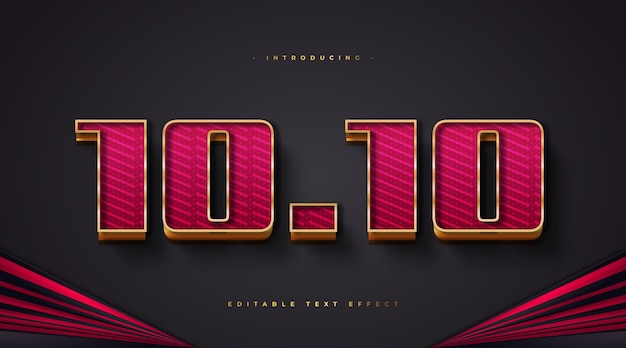 Bold red and gold text style with glitter and 3d effect