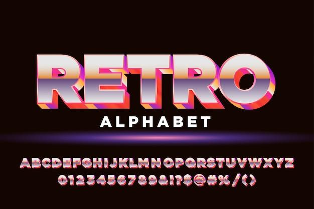 Bold retro 80s alphabet set for retro design style