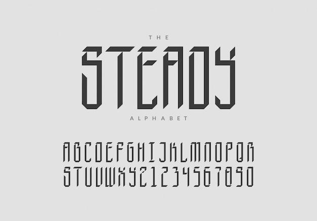Жирный ретро шрифт с цифрами. модный 3d алфавит.