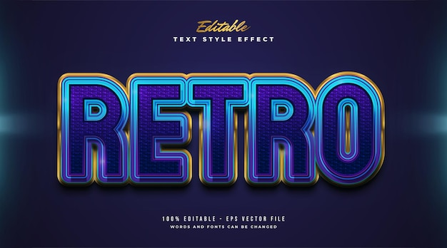 Bold retro text style in colorful gradient with embossed and textured effect