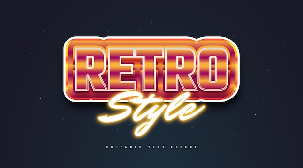 Bold retro text style and glowing orange neon effect. editable text style effect