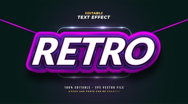 Bold retro text style in white and purple with 3d embossed effect. editable text style effect
