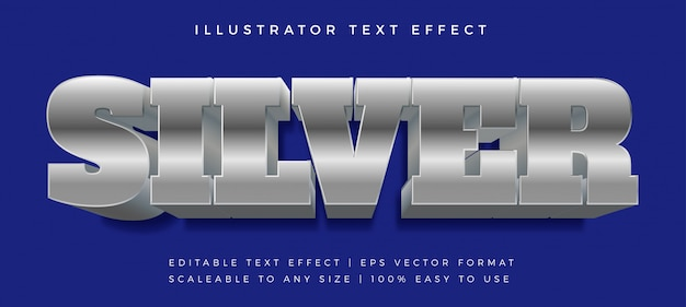 Bold silver blue text style font effect