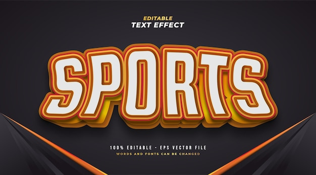 Bold sports text style in white and orange with 3d effect. editable text effect