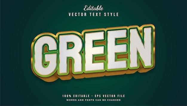 흰색, 녹색 및 금색 구성의 굵은 텍스트 효과. 편집 가능한 텍스트 스타일 효과