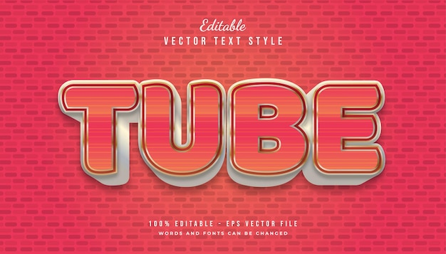Bold tube text style in red and white with textured and embossed effect Premium Vector