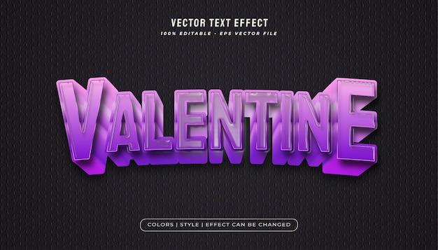 플라스틱 질감과 양각 효과가있는 보라색의 굵은 발렌타인 텍스트