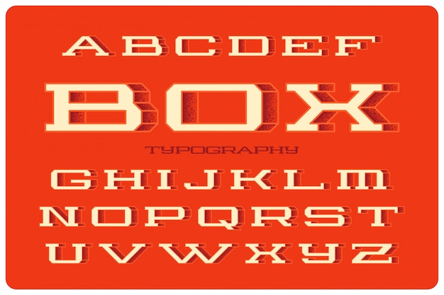 Bold vector font set with volume 3d effect