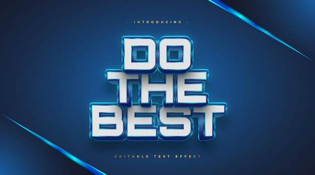 Bold white and blue text style with 3d embossed effect. editable text effect