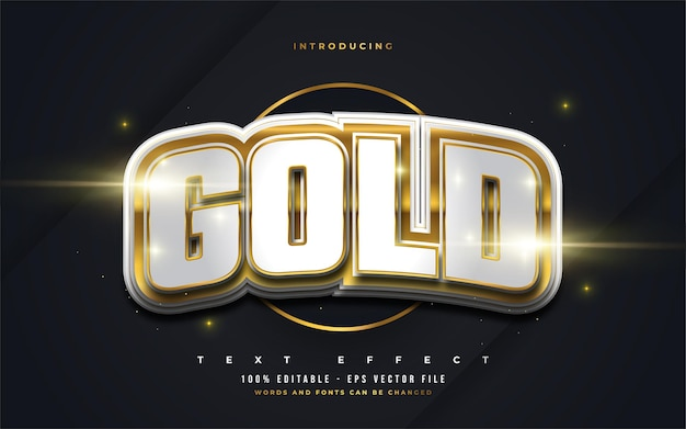 Bold white and gold text style with 3d embossed effect. editable text style effect