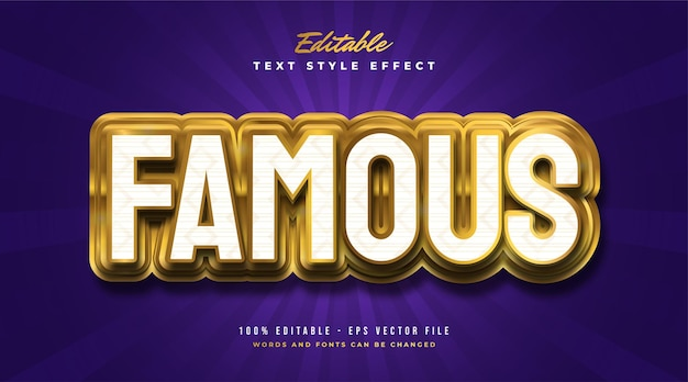 Bold white and gold text style with realistic embossed effect. editable text style effect