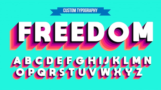 Bold white vintage uppercase typography with red shades shadow
