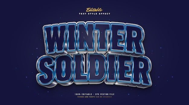 Bold winter soldier text in blue cold and metal effect. editable text style effect