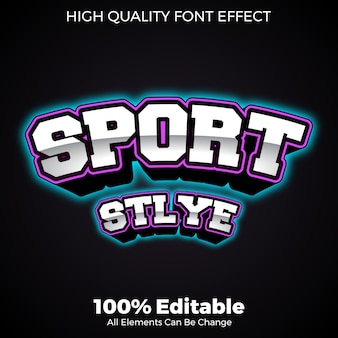 Bold with neon glow effect sport style editable font