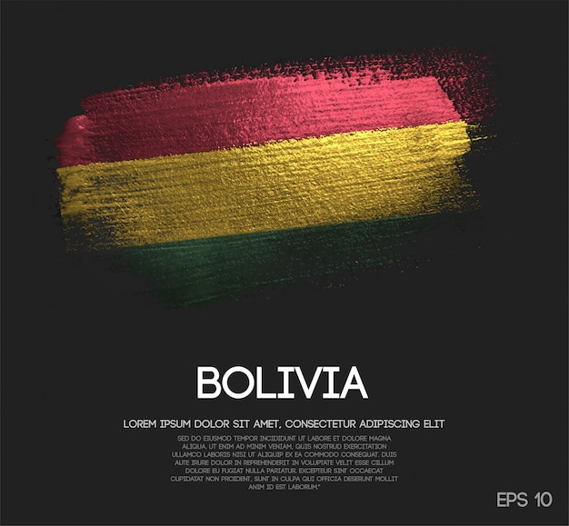 Bolivia flag made of glitter sparkle brush paint vector