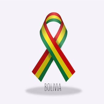 Bolivia flag ribbon design