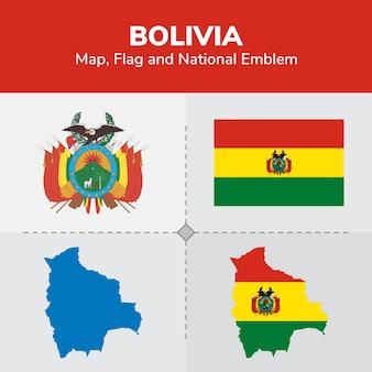 볼리비아지도 플래그 및 국가 상징