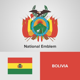 Bolivia map flag and national emblem