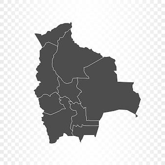 透明に分離されたボリビアの地図