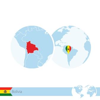 볼리비아의 국기와 지역 지도가 있는 세계 세계의 볼리비아. 벡터 일러스트 레이 션.