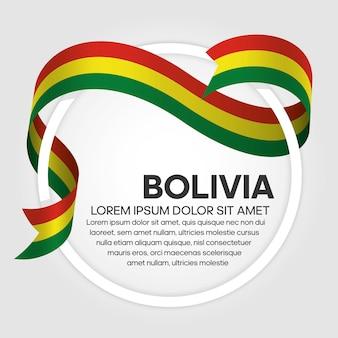 Bolivia ribbon flag, vector illustration on a white background