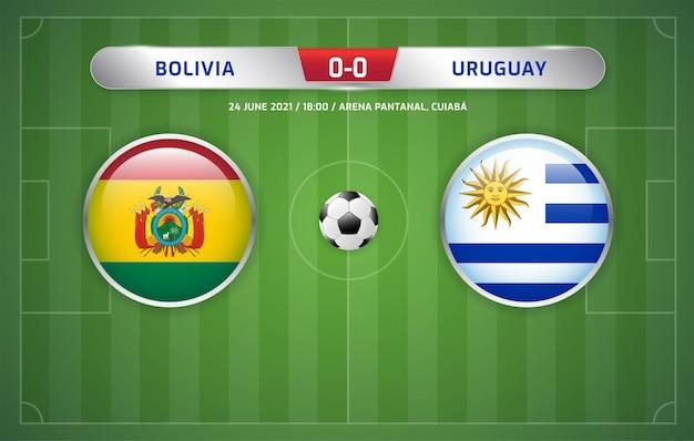 볼리비아 대 우루과이 스코어보드 방송 축구 남미 토너먼트 2021