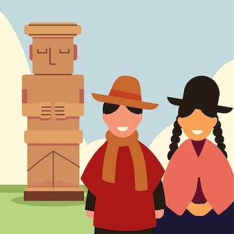 Боливийская пара и статуя