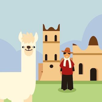 Боливийский мужчина и лама