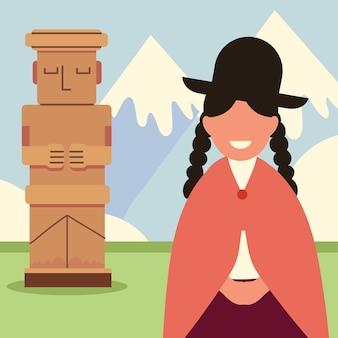 Боливийская женщина и пейзаж