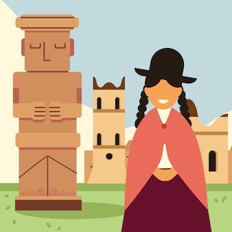 Боливийская женщина в традиционном платье