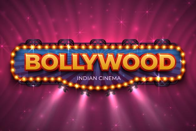 ボリウッドの背景。テキストとスポットライト、インドの映画撮影のステージとインドの映画ポスター。ボリウッド映画イベントポスター