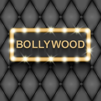 Bollywood cinema indian movie 3d classic film board gold text in 3d