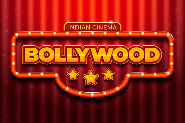 Bollywood cinema sign realistic design