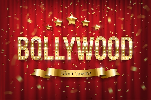 Bollywood indian cinema banner with text, shiny sign with lights on red curtain backdrop