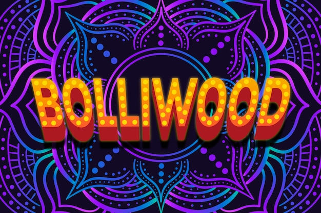 Bollywood lettering with mandala concept