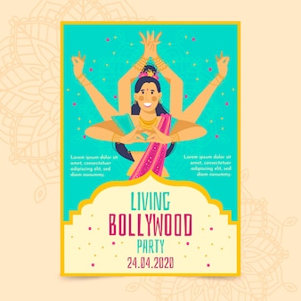 Bollywood party poster template with dancer
