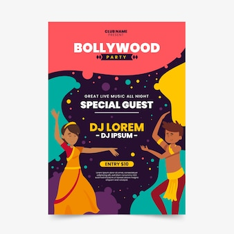 Bollywood party poster template with dancers