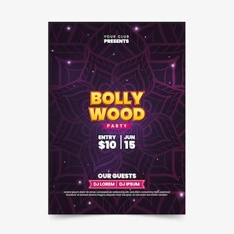 Шаблон плаката болливудской вечеринки с мандалой